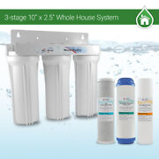 Whole House Water Filter System 2.5 X 10 White 3 Stage Filtration 3/4 Inlet