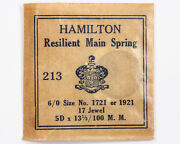 Hamilton 6/0 Mainspring 1721/1921 For 17 Jewel Pocket Watches Out Of Estate