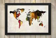 World Map Colorful Stripes On Canvas Art Print Wall Poster - Giclee, Wrapped