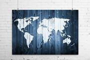 Rustic Painted Barn Wood World Map Art Print Wall Poster - Giclee