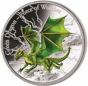 2017 3 Oz Proof Silver Fiji 5 Green Dragon Force Of Weather Coin.