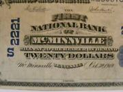 Mcminnville Tennessee Tn 1902 20 Date Back Ch. 2221 The First National Bank
