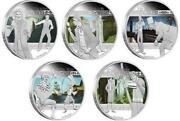 Tuvalu 2011 1 Heroes And Villains 5x 1 Oz Proof Silver Coin Set