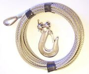 1/4 X 50 Ft, 7x19 Stainless Steel Winch Cable With 5/16 Clevis Slip Hook