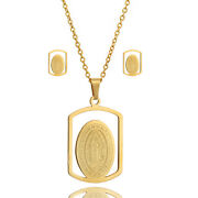 14k Gold Stainless Steel Our Lady Virgin Mary Pendant Chain Earring Necklace Set