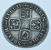 1720 Shilling British Silver Coin From George I Vf+