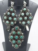 Vintage 50's Navajo Cluster Lone Mountain Turquoise Sterling Ring Earrings Set