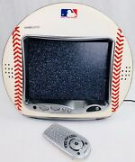 Hannspree 9.6 Lcd Color Tv Mlb Ny Yankees Leather Baseball W/ Original Remote