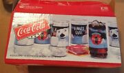 Coca-cola 8 Piece Coolers Glass Tumblers Indiana Glass From 1995 16 Oz.