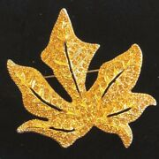 Christian Dior Pave Maple Leaf Crystal Brooch Pin