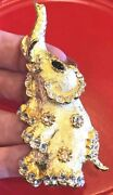Vintage Large Kenneth Jay Lane Elephant Gold Tone And Clear Crystal Brooch Pin
