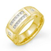 0.70 Ct Princess Round Menand039s Diamond Wedding G Band Ring 14k Gold Yellow 10mm