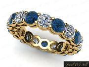 4.80ct Blue Diamond Open Gallery Shared Prong Eternity Band Ring 10k Gold I2 I1