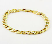 35.10gm 14k Solid Yellow Gold Mariner Menand039s Heavy Concave Chain Bracelet 9 11mm
