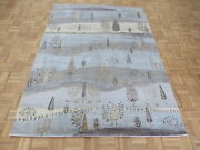 5'7 X 7'9 Hand Knotted Sky Blue Willow Tree Oriental Rug With Silk G5849