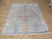8'3 X 10 Hand Knotted Gray Tree Of Life Gabbeh Oriental Rug With Silk G6017
