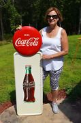 Vintage 40andrsquos Coca Cola Old Drink Bottle Pilaster W/ Button Sign Minty Andnbsp