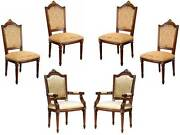 Set Of 6 Louis Xvi Ornate Gold Upholstered Mahogany Dining Chairs Chippendale