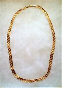 Vintage European Solid 18k 750 Yellow Gold Braded Necklace Chain 18kt 10.8 Grams