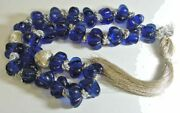 Antique Large Cobalt Blue Glass Candy Mold Floral Beads Garland Necklace 45398