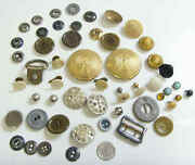 50 Antique Old Metal And Very Nice Mix Assorted Collector Buttons Lot 50691