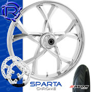 Rotation Sparta Chrome Custom Motorcycle Wheel Package Harley Touring 23