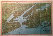 1920s Colored Birds Eye View And Good Auto Route Map Of New York Nostrand