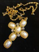 Stunning Large Kenneth Jay Lane Gold Plated Pearl And Crystal Cross Necklace