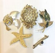 Vintage Jewelry Brooch Pin Lot Of 5