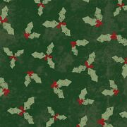 Home For Christmas Holly On Green By The Yard By 43 Inches Clothworks