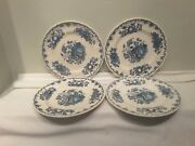 A Set Of Four Masonand039s Fruit Basket Multi Colored Blue Luncheon Plates