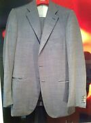 Isaia-blue Birds Eye Check Suit 140and039s-3btn-flat Frnt-center Vent-size 50r Euro