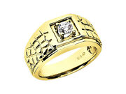 Natural 0.75ct Round Solitaire With Scales Mens Ring 14k Yellow Gold I Si2 Prong