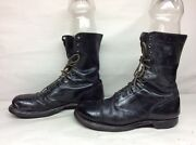 Vtg Mens Corcoran Military Leather Black Boots Size 10 C