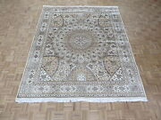 8 X 9and03910 Hand Knotted Ivory Persian Nain Gombad With Silk Oriental Rug G4402