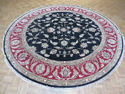 9and0398 X 9and0398 Round Hand Knotted Black Fine Agra Oriental Rug Vegetable Dyes
