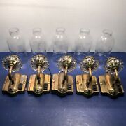 5 Five Antique Brass And Glass Wall Sconce Fixtures With Beautiful Slip Shades 22c