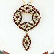 Vintage 14k Gold 6.40ctw Round Ruby And Opal Marquise Design Pendant Pin Brooch