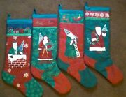 Country Cottage Set/4 Victorian Santa Trees And Wreath Quilted Christmas Stockings