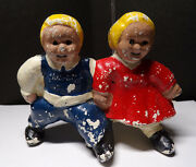 Campbell Kids Cast Iron Boy And Girl Bank Figurine 3.5 X 4.5 Campbelland039s