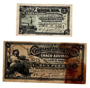 Argentina Two Unlisted Notes 5 Centavos And One Peso Colonia General Vedia