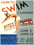8084.decoration Poster.home Room Wall Art Design.learn To Swim Campaign.classes