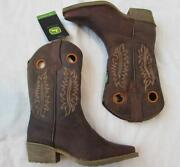 John Deere Girls Kids Brown Goat Leather Pull On Cowboy Snip Toe Boots New