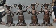 25 Old Chinese Bronze Protect Four Heavenly Kings Warrior Guards God Statue Set