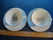 Footed Cups And Saucers In Wheat Lenox China Pattern R-442 / 2-cups And 2-saucers