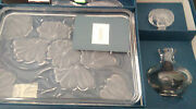 New Waterford Crystal Floral Vanity Set Brush, Tray, And Perfume Bottle