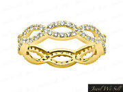 Natural 2.25ct Round Diamond Weave Wedding Eternity Ring 18k Yellow Gold H Si2