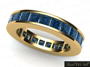 Genuine 3.75ct Blue Diamond Classic Channel Set Eternity Band Ring 18k Gold Si2
