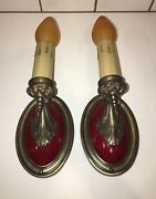 Early 1900and039s Brass Sconces With Rare Functional Hubbell Pull Chain-sockets 35a