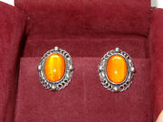 Authentic Georg Jensen Sterling Amber Cabochon Earrings 1995